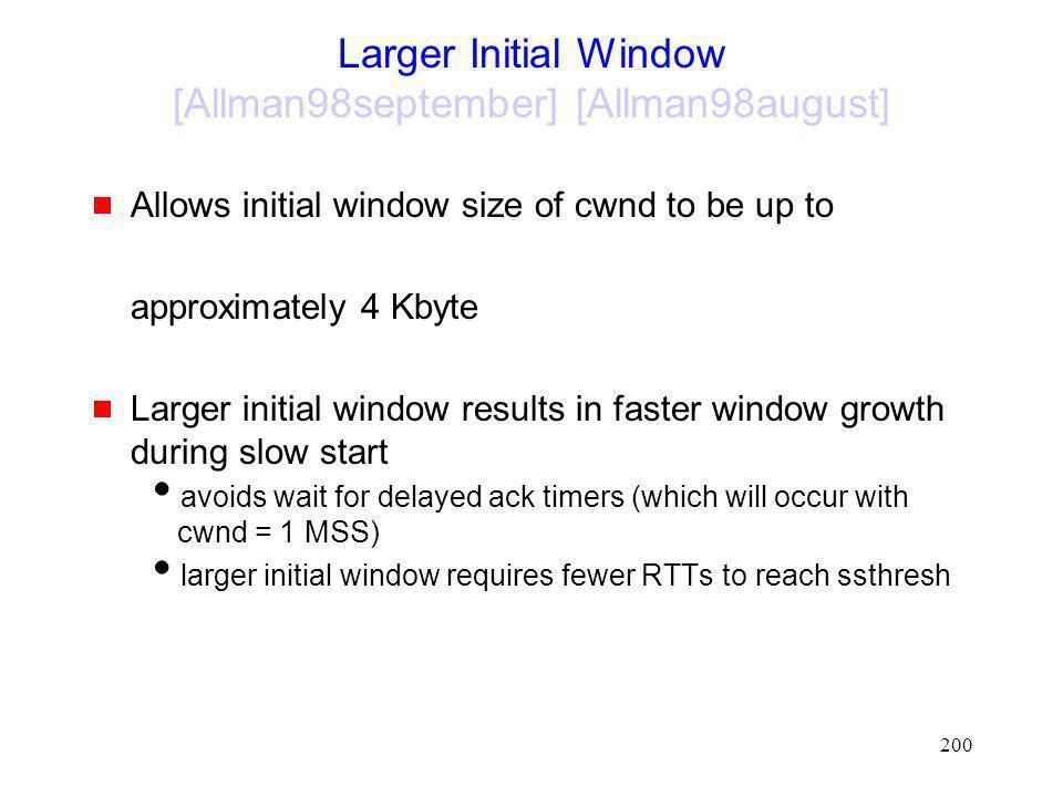 Larger Initial Window [Allman98september] [Allman98august]